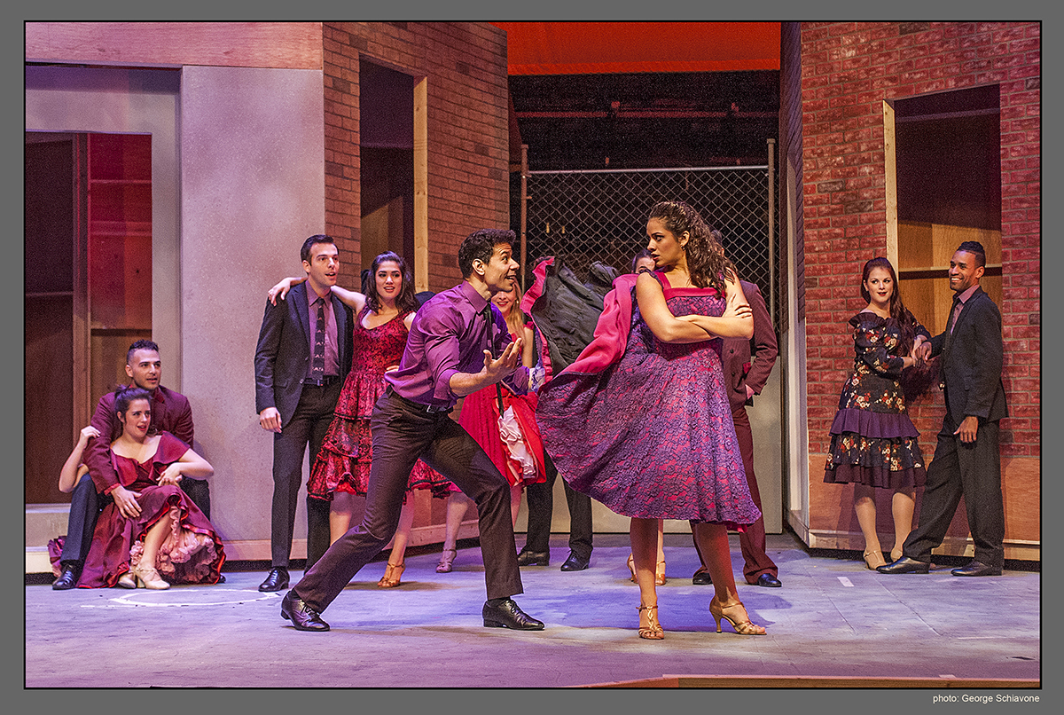 Marco Antonio Santiago (Bernardo), Isabelle McCalla (Anita) and the cast of West Side Story at Actors' Playhouse at the Miracle Theatre. Photo by George Schiavone.