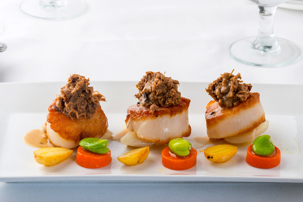 Diver Sea Scallops topped with beef short rib from Pascal's on Ponce in Coral Gables.
