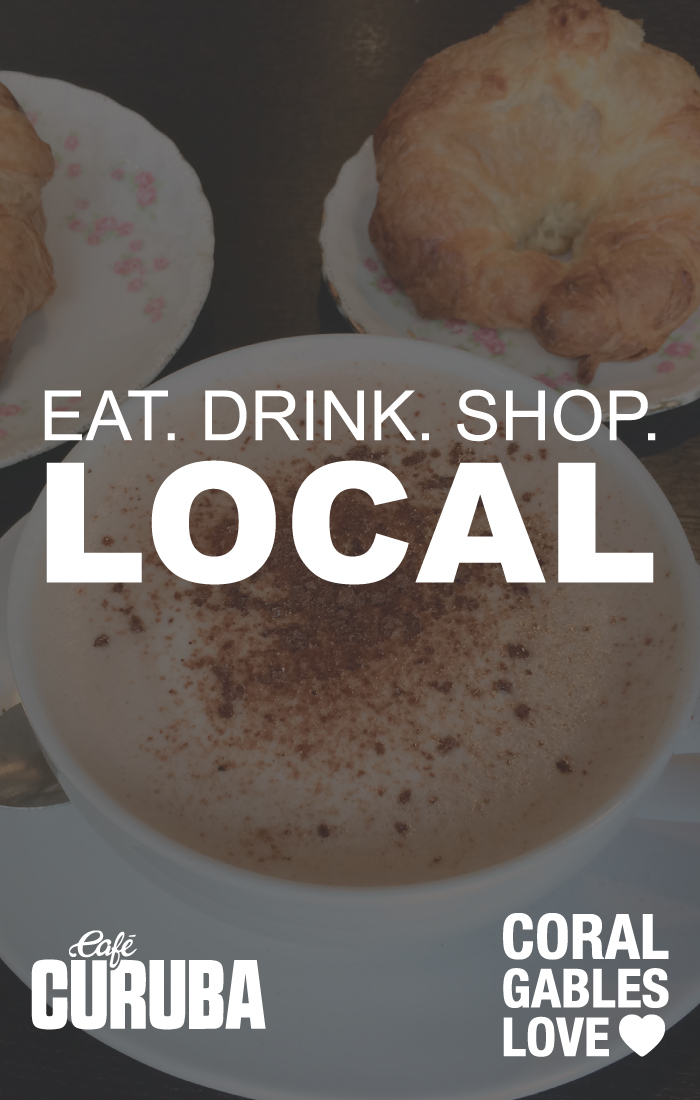 Cafe Curuba is my favorite coffee shop in Coral Gables. They sell specialty coffee and handmade pastries. Plus, they always have the best music. Eat, Drink, & Shop Local.