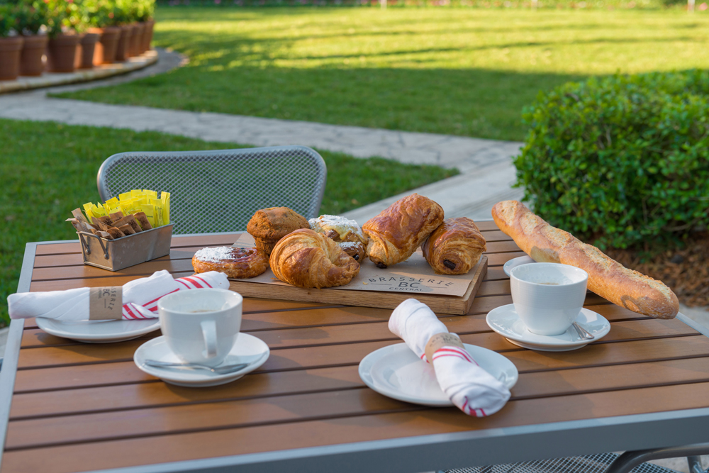 In house fresh baked baguettes, croissants, pain au chocolat (chocolat croissants) by Chef Fascal Oudin from Brasserie Central in Miami