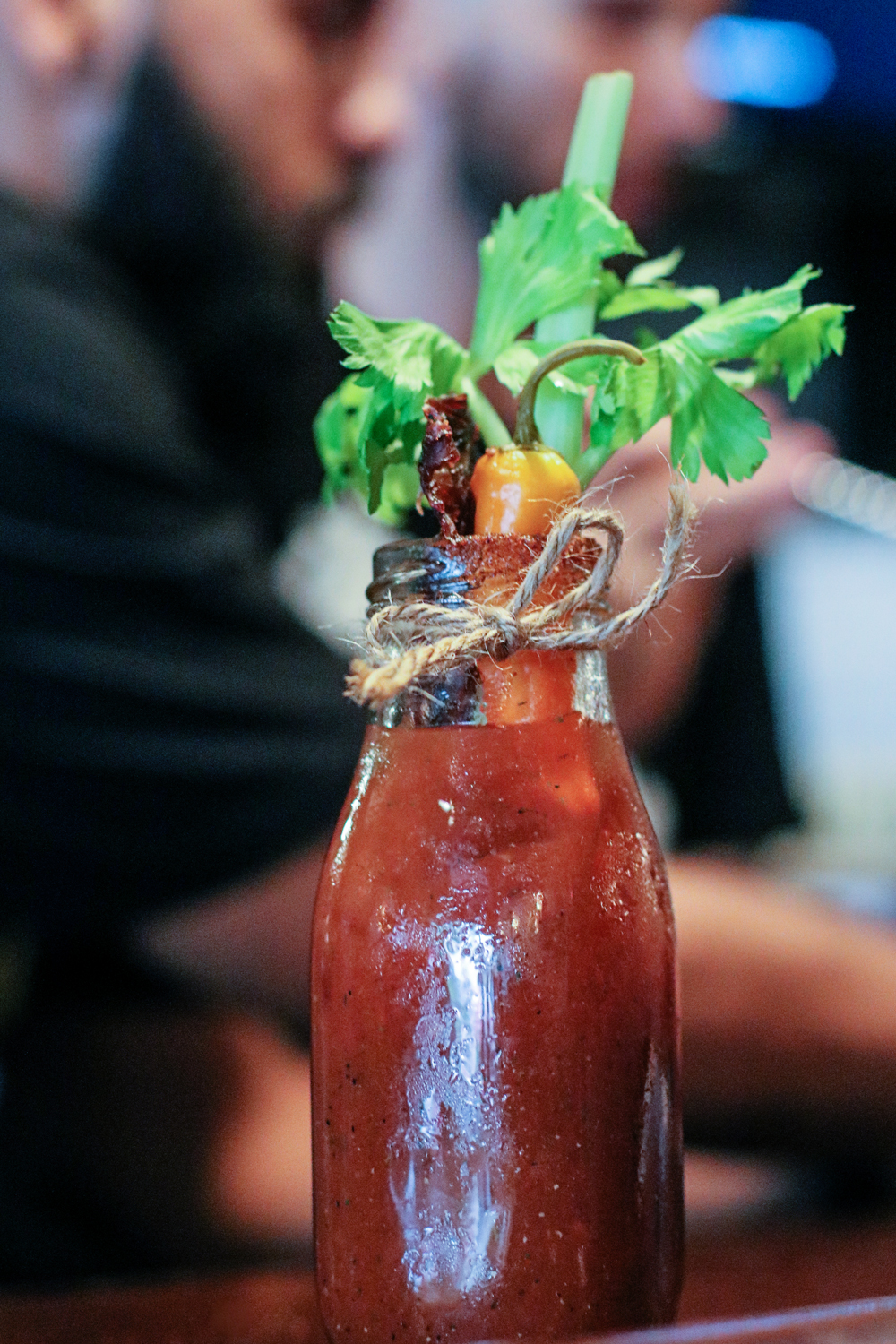 I love how they serve the Bloody Mary in a bottle at The Local Craft Food & Drink in Miami.