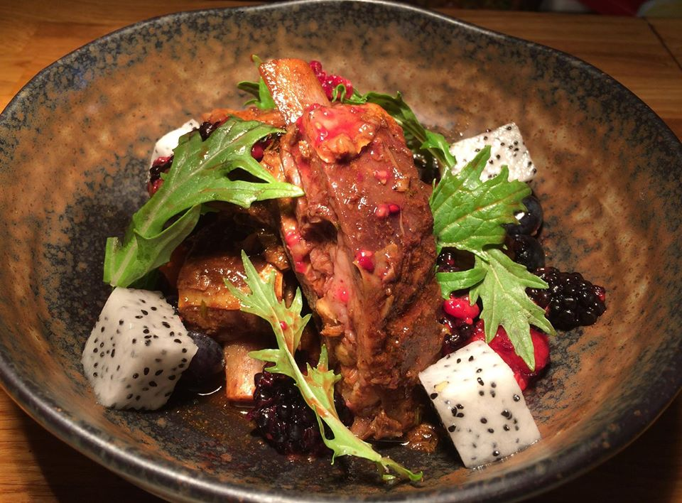 Beaker and Gray Game of Thrones Inspired Menu. Lamb ribs with dragon fruit. and wild berries.