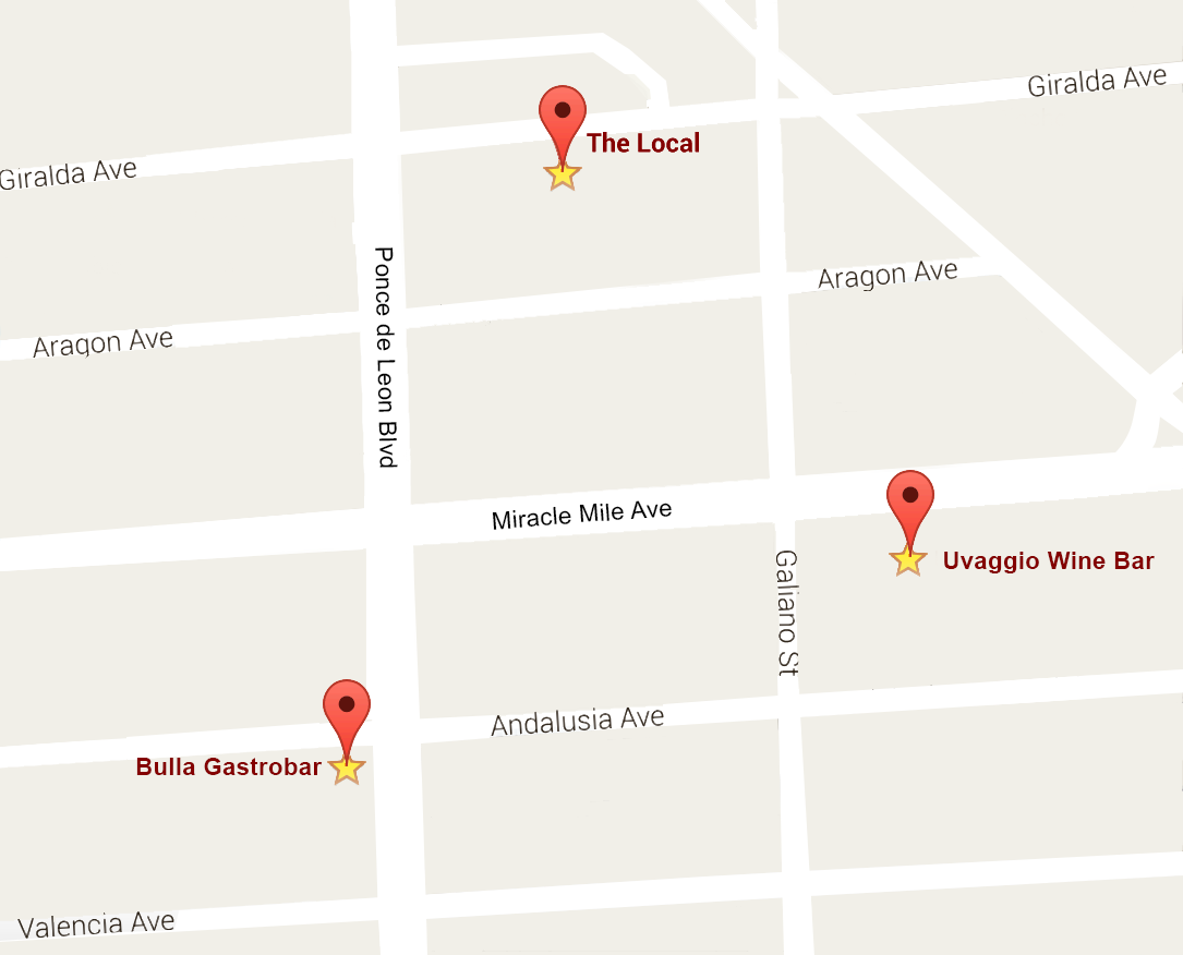 Coral Gables Food Tour Map May 2016
