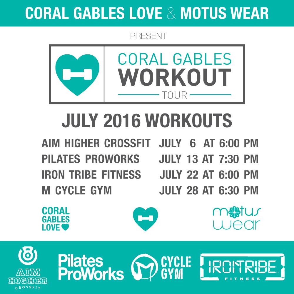 Coral Gables Workout Tour July 2016 schedule