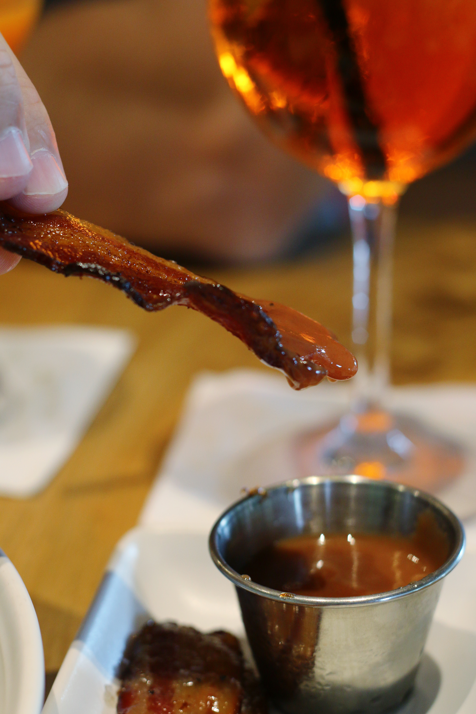 Miami restaurant, Glass & Vine, serves crispy bacon with coffee salt and guava sauce for dipping. Click to read more or pin and save for later! Coral Gables | Coconut Grove | Florida