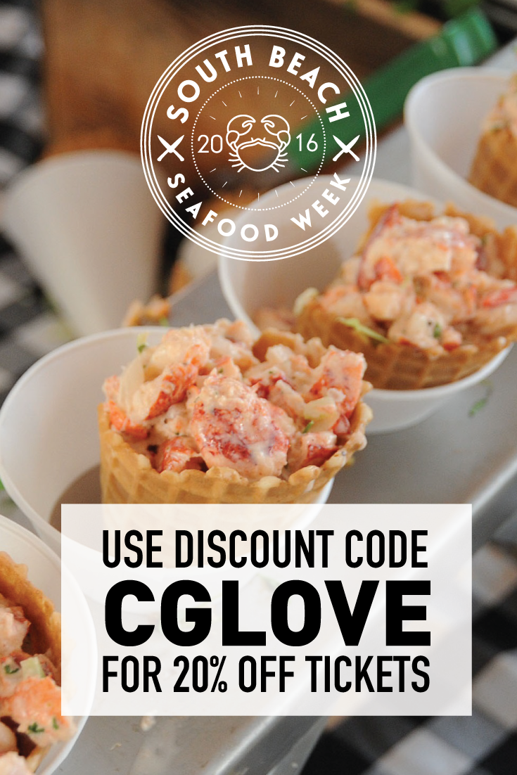 The South Beach Seafood Festival always take place on Miami beach in October. Use promo code CGLOVE for 20% off your ticket price. This is the crab waffle cone from Joes Stone Crabs.