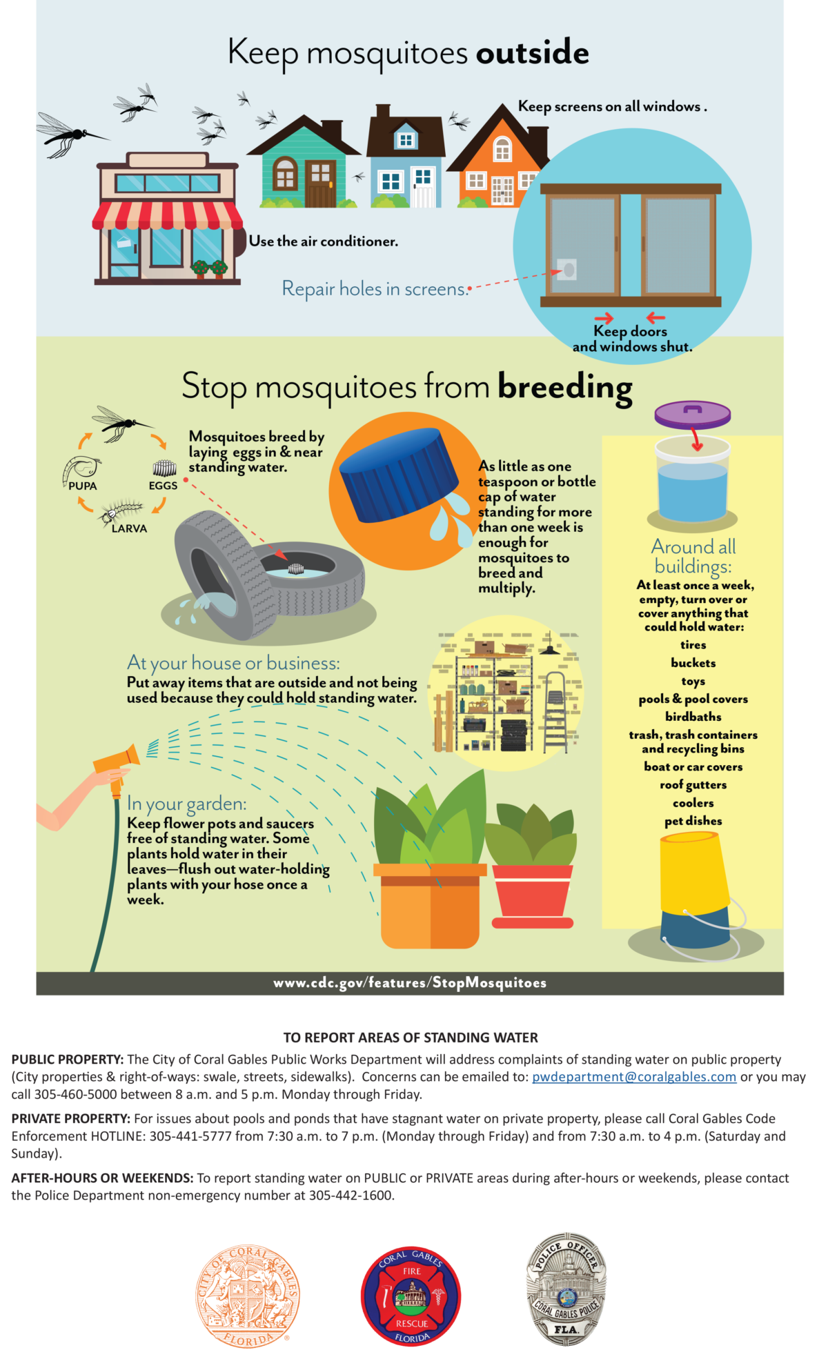 Coral Gables Zika Virus Advisory & Mosquito Bite Protection Flyer