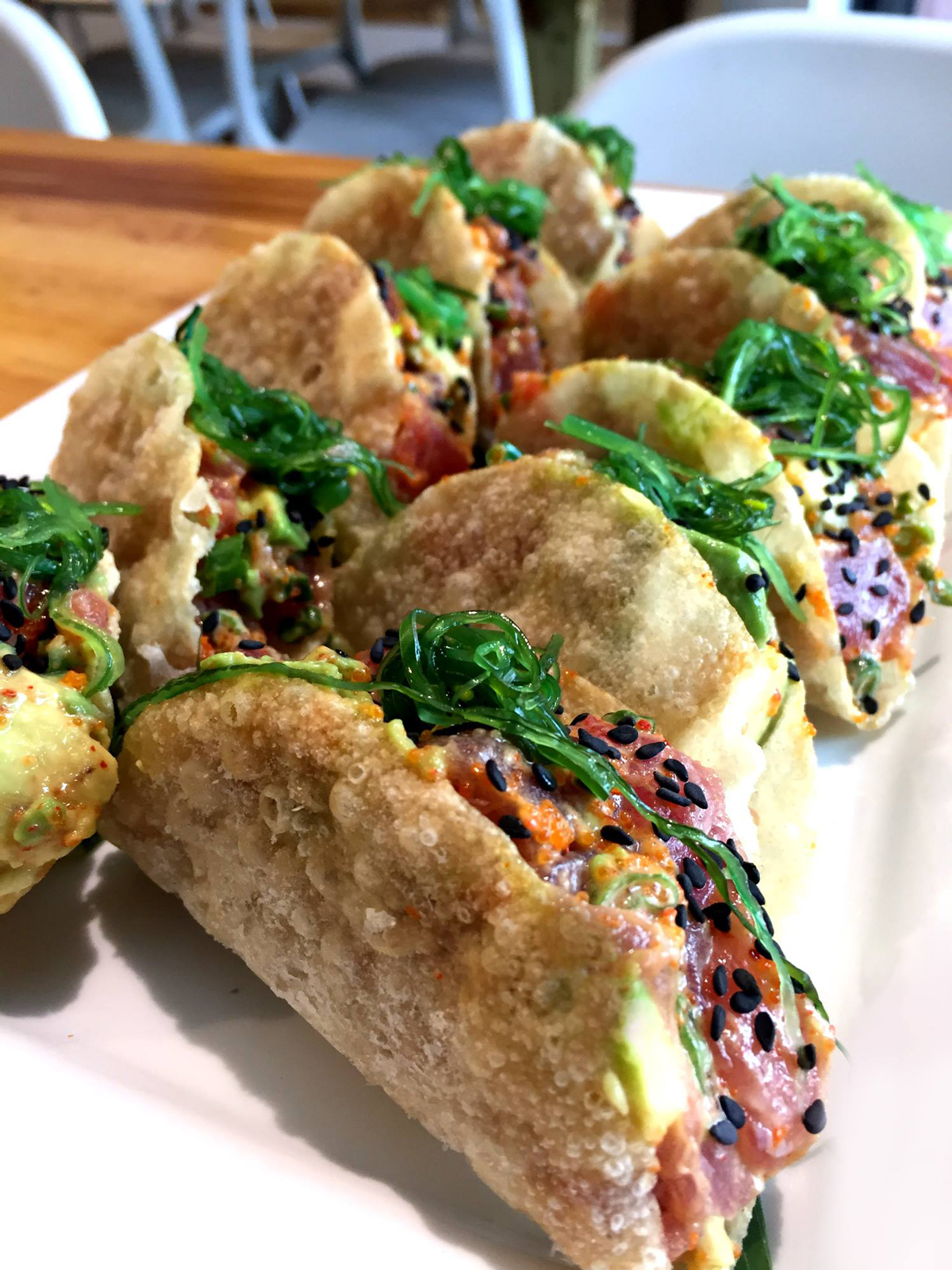 Spicy Ahi Tuna Tacos PokeBao restaurant Coral Gables near Miami, Florida