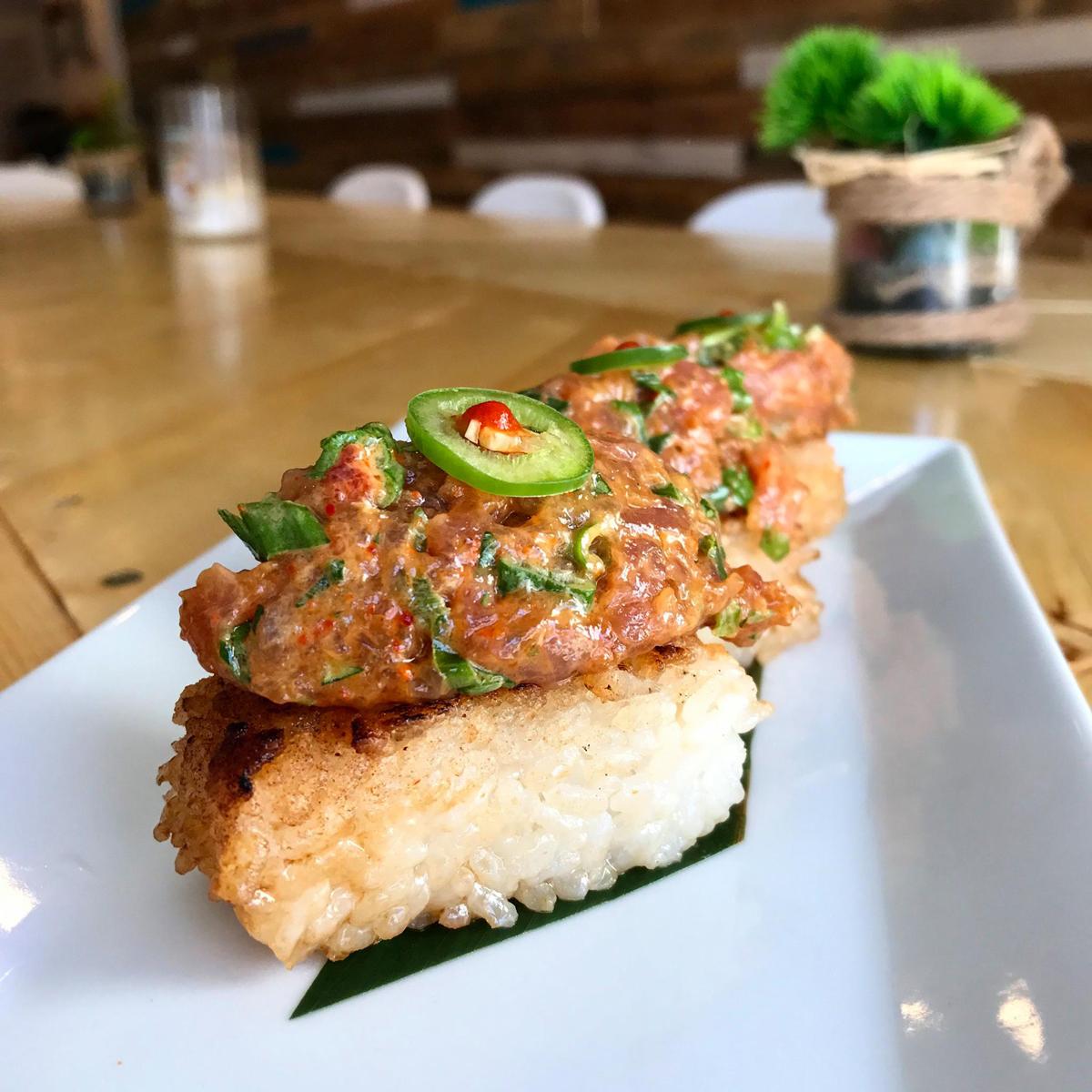 Crispy Rice Tuna PokeBao restaurant Coral Gables near Miami, Florida