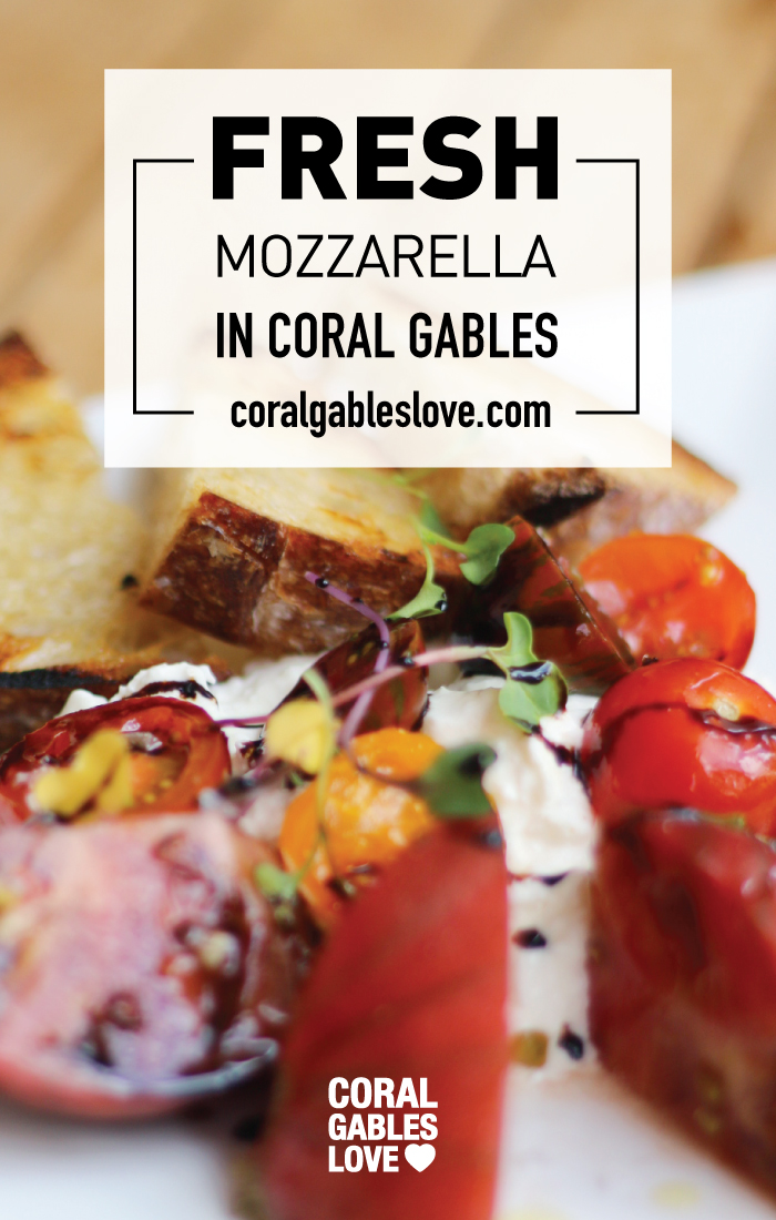 Fresh Mozzarella Stracciatella appetizer from House Kitchen and Bar in Coral Gables, Florida. Miami restaurants.