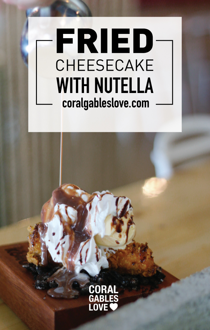 Sushi Kong fried cheesecake with ice cream and nutella. Miami restaurant near Goral Gables, Florida.