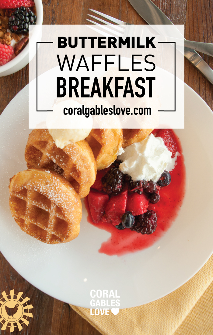 Spring Chicken Breakfast menu buttermilk waffles. Miami restaurant.
