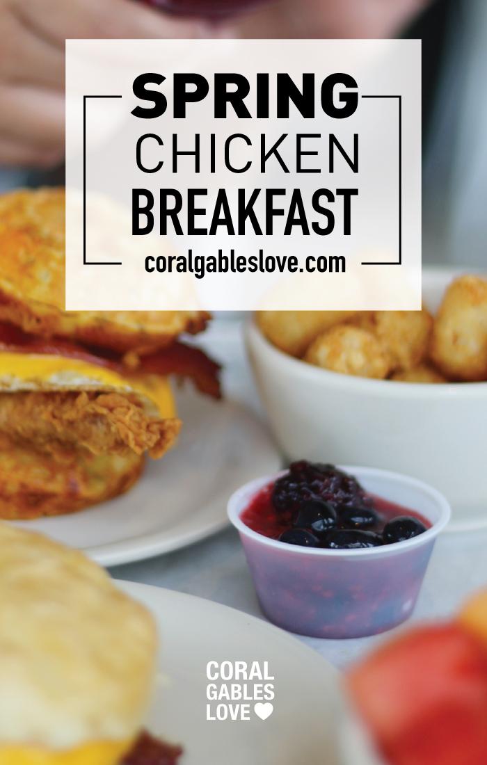 Spring Chicken Breakfast menu includes chicken waffle sandwich. Miami restaurant.