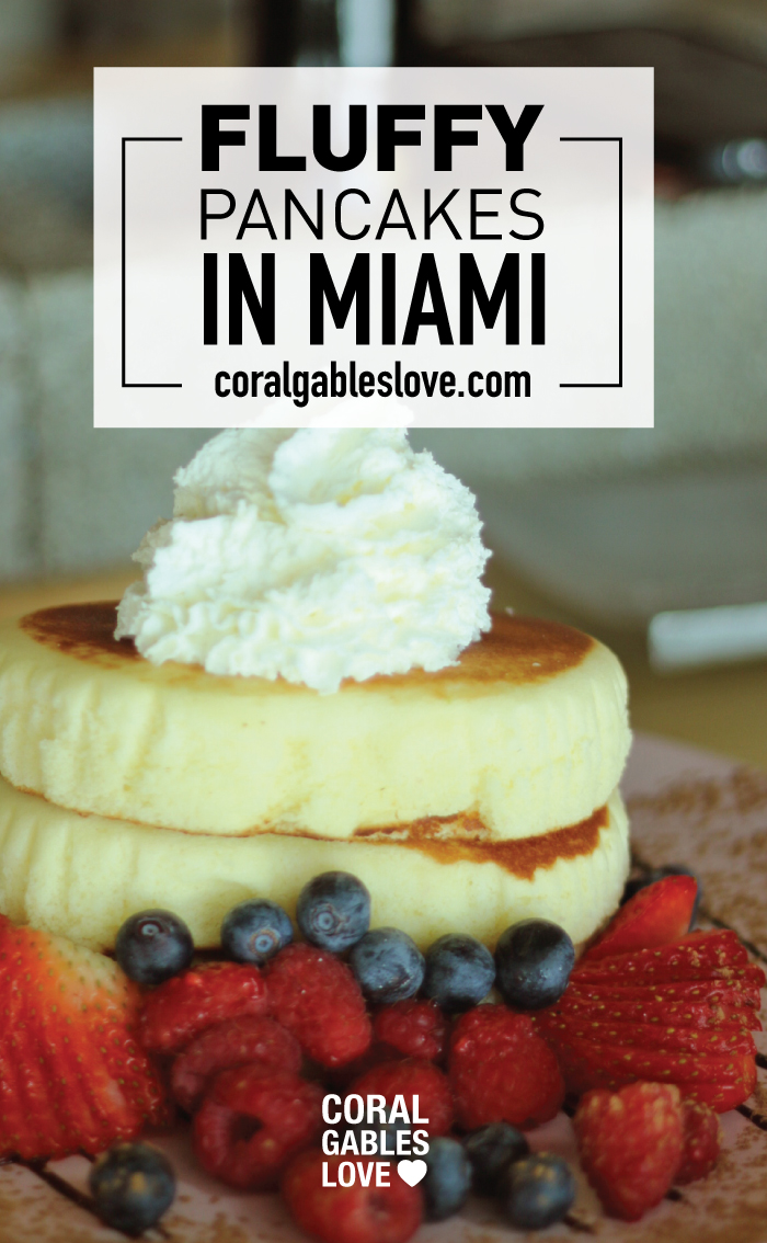 For the FLUFFIEST Pancakes in Miami visit SushiKONG. They are served with maple syrup and berries. SO FLUFFY