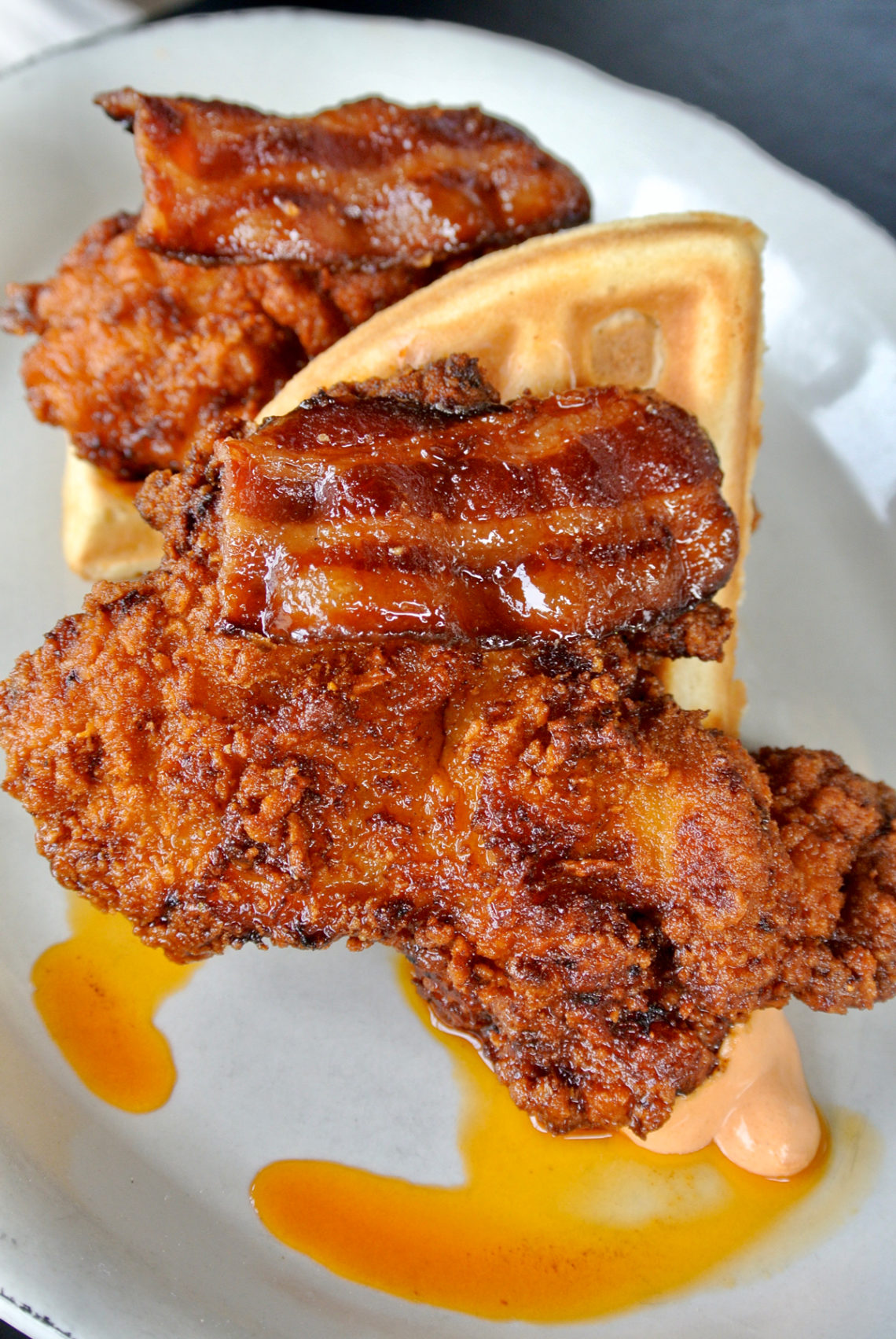 Eating House Miami- Hot Chicken and Waffles with Bacon