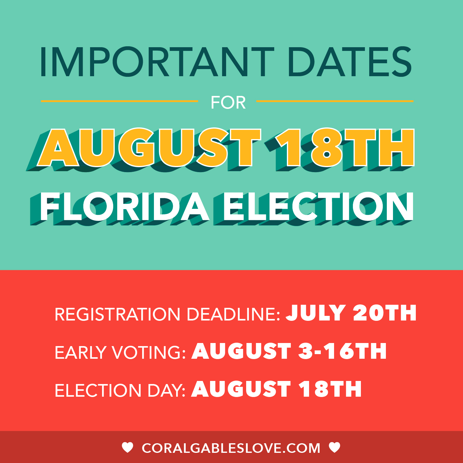 Important Date For Miami, Miami-Dade, Florida Primary Election August 2020