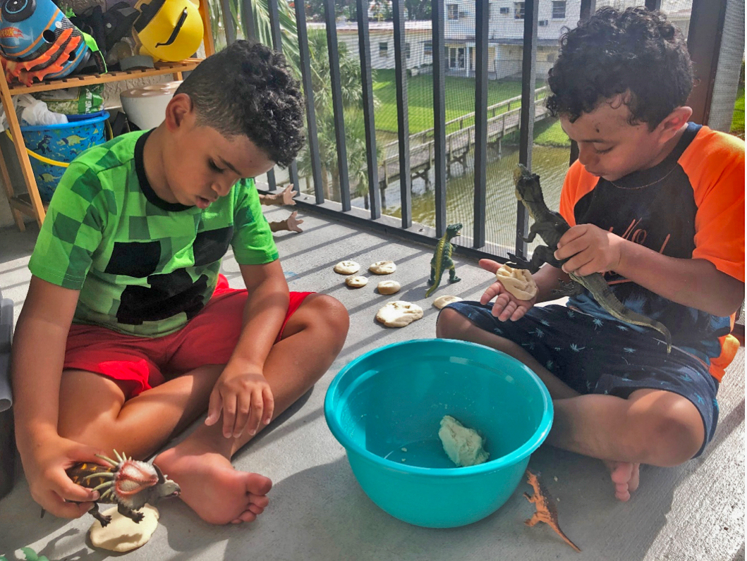Kids Activities at Home, making dinosaur fossils