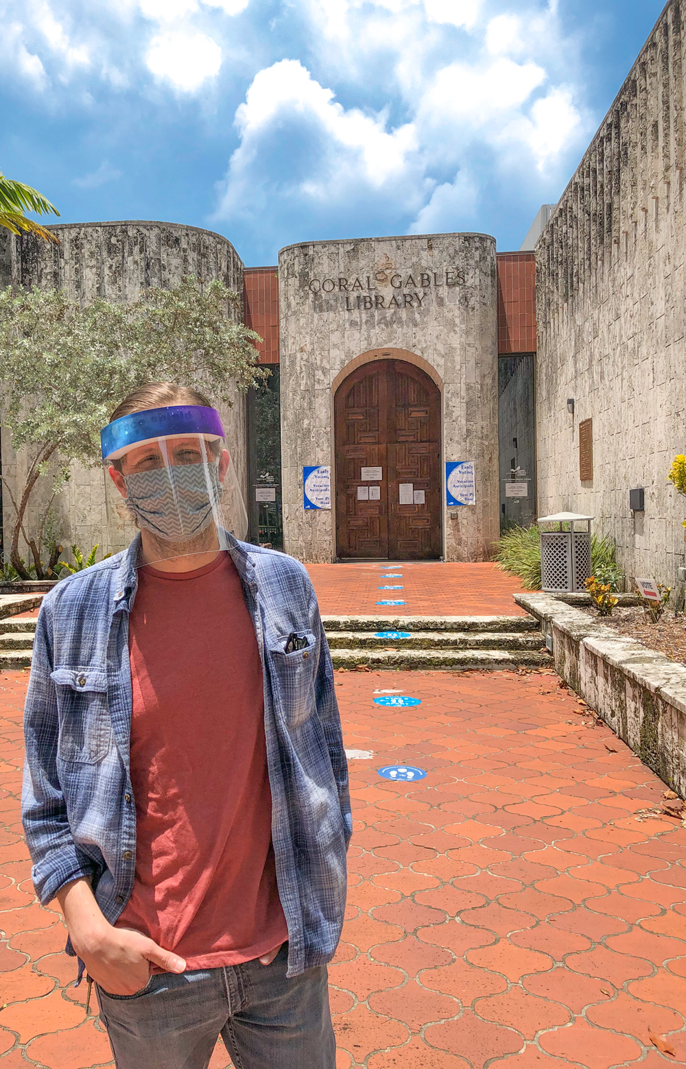 Wearing a Face Shield and Mask when voting at the polls in person at the august florida primary election 2020
