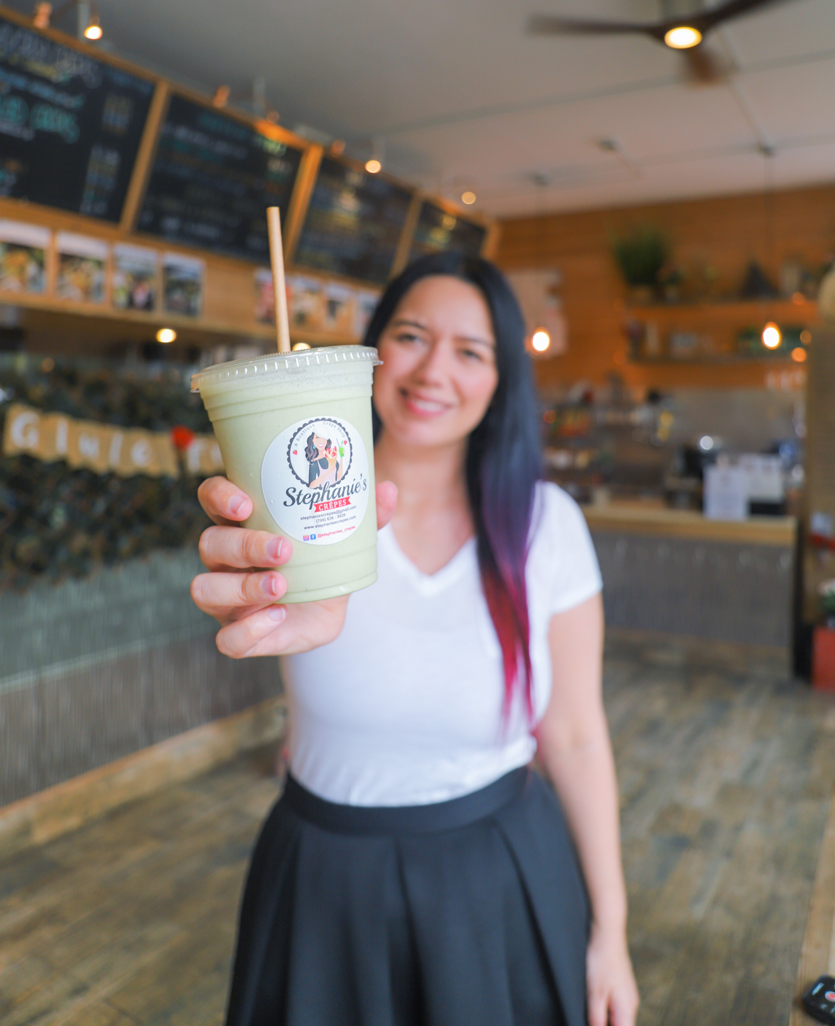 Stephanies Crepes. Gluten-free crepes in Miami, Coral Gables, Florida. Matcha Banana Smoothie