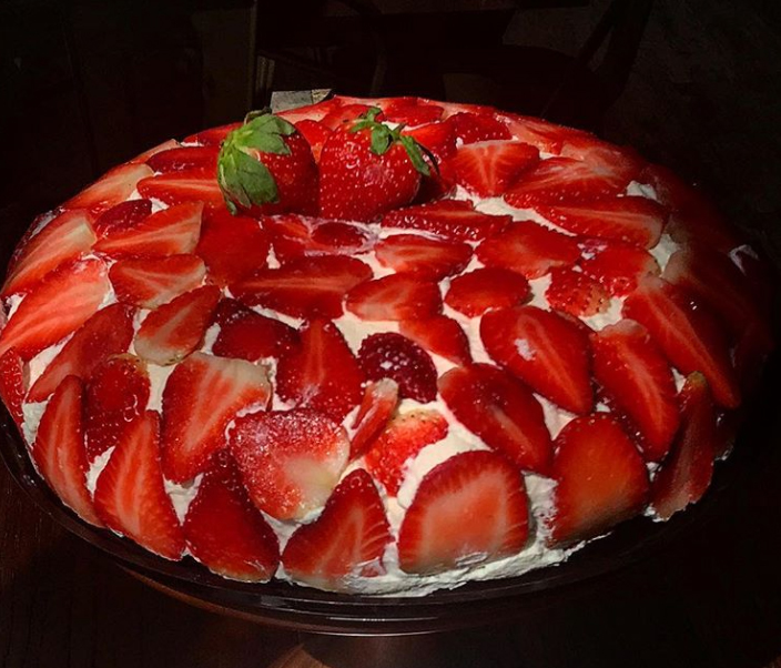 Stephanie's Crepes strawberry crepe cake in Coral Gables