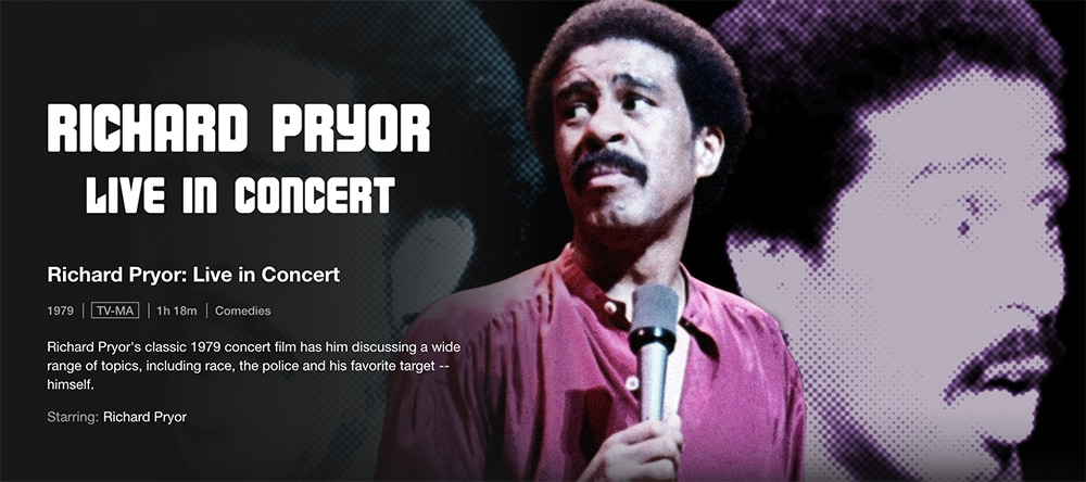 Must-Watch Comedy Stand up Specials To Watch on Netflix - Richard Pryor: Live in Concert
