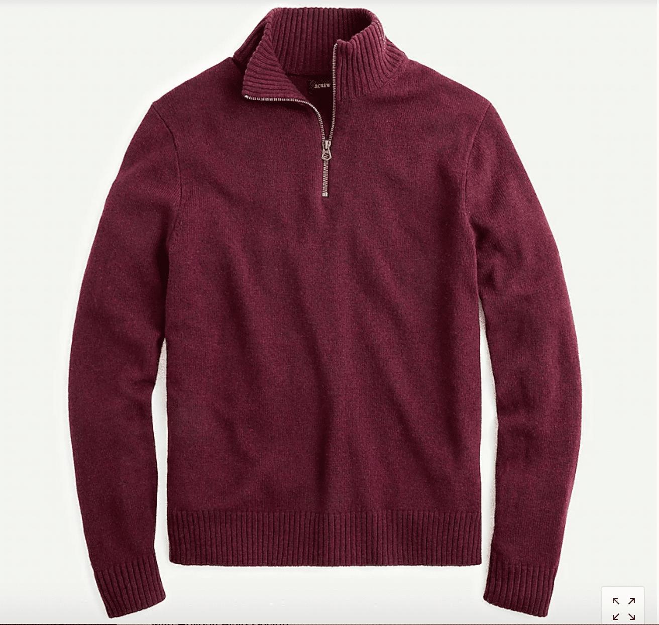 best gifts for him classic zipper sweater in dark red
