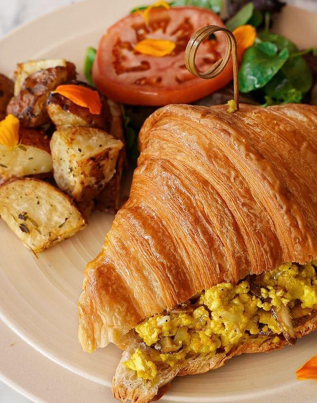 Lartisane Vegan Bakery Coral Gables egg croissant sandwich